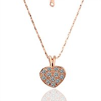 Wholesale peach gemstone for sale - Group buy High quality women s Mosaic peach heart k gold jewelry pendant necklace WGN016 A Rose gold white gemstone Necklaces with chains