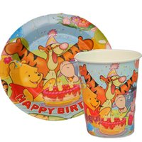 Wholesale Metal Cake Pan - Wholesale-100pcs Winnie the Pooh Tigger Paper Plates and Cups Disposable Cake Pans baby shower birthday party decorations kids
