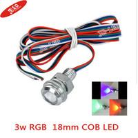 Wholesale Eagle Eyes Lights Remote - Wholesale- Freeshipping 2pcs High brightness Wired 3W E-01 18mm COB LED Eagle Eyes Car Bulb RGB Light 70lm - Silver + Red