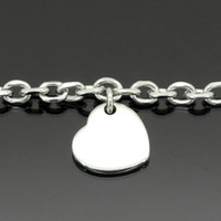 Fashion Jewelry Bracelet à cheville Heart Charm Waterproof Stainless Steel Anklets 23 + 5 cm Ajuster à 11