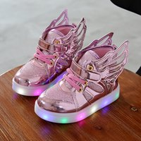 Wholesale Canvas Shoes Wings - Children Shoes With Light 2017 Fashion Glowing Sneakers Boys Little Girls Shoes Wings Canvas Flats Spring Kids Light Up Shoes