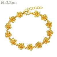 Wholesale 24k Gold Chain Designs - MGFam (254B) (21cm*10mm) Elegant Flowers Bracelet Jewelry For Women (buy one get one) Cassical Designs 24k Gold Plated Allergy Free