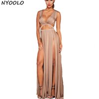 Wholesale Double Maxi Long Dress - Wholesale- NYOOLO cropped deep v neck women sexy long dress high slit maxi dress double split evening party long dresses Vestidos Robe