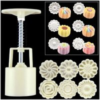 Wholesale Decorative Stamp Set - new arrival 3-D Moon Cake Mooncake Decoration Mold Mould 100g Flowers Round 4 Stamps DIY Tool fondant decorative punch set