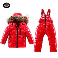 Wholesale Skiing Clothes For Children - Wholesale- 2017 Boys Down Suit Clothing Winter For Boys Girls Duck Down Children's Ski Suit Winter Warm Down Jackets Children Skiing Suit