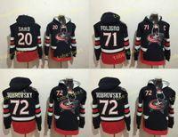 Wholesale Brandon Saad Jersey - Columbus Blue Jackets Hockey Hoodie #20 Brandon Saad #72 Sergei Bobrovsky 71 Nick Foligno Stitched Top Quality Hoodie Sweater Hockey Jerseys