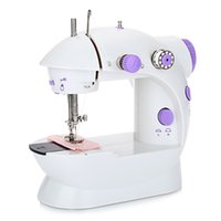 Wholesale Mini Handheld Sewing Machine - Mini Handheld sewing machines Dual Speed Double Thread Multifunction EU Electric Mini Automatic Tread Rewind Sewing Machine