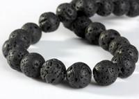 componentes de jóias venda por atacado-Natural Preto Volcanic Lava Pedra Rodada Solta Pérolas Gemstone Beads para Fazer Jóias Componentes DIY Acessórios DHL Presente de Natal