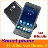 Wholesale Cheap Dual Camera Mobile Phones - Cheap 5 inch Android smart phone MTK6572 Dual Core 854*480 Dual SIM Camera wifi GSM Unlocked H-Mobile S13 Mobile Free shipping with case
