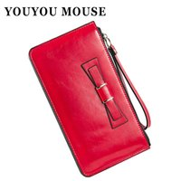 Wholesale Zip Bag Woman Pu - YOUYOU MOUSE Fashion Women PU Leather Wallets Bowknot Design Money Purse Bag Lady Clutch Long Zip Coin Purse Card Holder Wallet