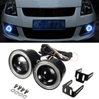 Wholesale halo led projector - 2x Universal 2.5 Inch Projector COB LED Car Fog Light Halo Angel Eyes Rings DRL White 12V Road Fog Lamp