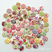 Wholesale Colorful Sewing Buttons - 1000 Multicolor 2 Holes Wood Sewing Buttons Scrapbooking Knopf Bouton botones Colorful DIY Wooden Sewing Craft Scrapbooking New TY2094