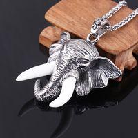 Wholesale Elephant Head Necklace - Silver Men Jewelry Stainless steel Charm Pendants Chain Elephant Head Animal Necklace for Men Women MP63