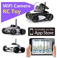 Wholesale Gopro Remote Control - New RC Mini Tank Car Spy with Video 0.3MP Camera WiFi Remote Control By iphone Android Robot with Camera 4CH White Grey DHL fast shipping