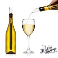 Wholesale Beverage Coolers Wholesale - Stainless Steel Ice Wine Chiller Stick Wine Cooling Stick Cooler Beer Beverage Frozen Stick Ice Cooler With Wine Pourer OOA2049
