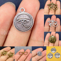 Wholesale Antique Egyptian Jewelry - 60pcs-Antique Bronze Tibetan Silver 2 Sided Egyptian Eye of Horus Double Sided Eyeglass Charms Pendant Lovely Connector DIY Jewelry Making
