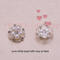 Wholesale Pure Silver Buttons - (J0112) 22mm rhinestone metal button with loop ,silver plating,small button,100pcs lot,pure white pearl