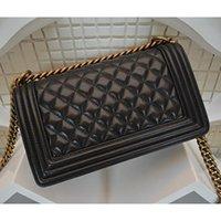 Wholesale Handbag Quilted Bag Lambskin Leather - High Quality Women's Quilted Chain Handbag Lambskin Leather Single Flap Shoulder Bag Women Messenger Handbag