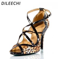 Wholesale Sexy Dance Latin Shoe - TOP Sneakers DILEECHI Brand Leopard Satin Charming sexy adult Latin shoes professional in high-heeled dance shoes Ballroom dancing shoes