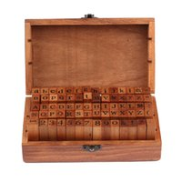 Wholesale vintage wooden stamp - Wholesale-Hot Sale 70pcs Vintage DIY Number And Alphabet Letter Wood Rubber Stamps Set With Wooden Box For Teaching And Play Games