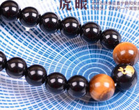 Wholesale Tiger Eye Leather Bracelet - Natural tiger eyes couple six words mantra men and women zodiac bracelet 6-8mm multi-layer hand string jewelry wholesale w3
