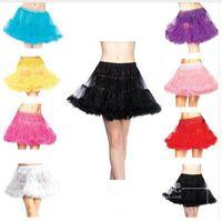 Wholesale Hot Pink Crinoline Petticoat - HOT SALE Multicolor White Black Red Yellow Pink Purple Lolita Tutu Dress Wedding Accessory Women Underskirts Short Petticoats