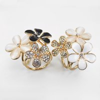 Wholesale Enamel Rhinestone Flower Clips - Beautiful Gold Plated Rhinestone Opal Enamel Flower Brooch Shawl Scarves Jewelry Scarf Buckle Clips For Gift Lots 10 Pcs