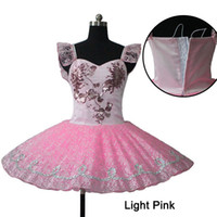 Wholesale Dance Costumes For Girls - Light Pink Professional Classical Ballet Dance 9 Layers Tutu Dress with Lace for Ladies Girls Performance Costume