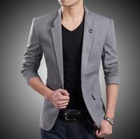 Wholesale Gray Korean Style Blazer - Blazer New style custom One Button Suit Jacket Korean Style high Quality Slim Fit Man Jacket formal occasion man jacket