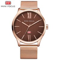 Wholesale Mini Clock Battery - MINI FOCUS NEW Gold Watch Men Watches Brand Wristwatch Male Clock Simple Dial Quartz Wrist Watch Relogio Masculino Montre Homme