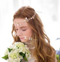 Wholesale Vintage Flower Headband Wedding - Vintage Wedding Bridal Crystal Rhinestone Pearl Beading Headband Hair Accessories Crown Tiara Luxury Handmade Headpiece Real Photos