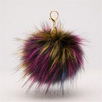 Wholesale Antique Fox Pendant - Sample 10 Colors Keychains New Fluffy Large 13cm Faux Fox Fur PomPom Ball Car Handbag Pendant Key Chain Key Ring 1 PC