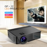Wholesale Sd Media Player - Wholesale- GP - 12 LED Projector 2000LM Beamer 1080P Full HD Home Cinema Media Player Built-in Speaker Support 3.5mm Audio HDMI SD Card USB