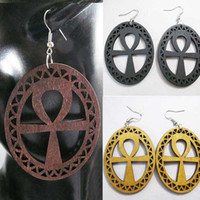 Wholesale American Hot Womens - Hot Sale! ladies womens wood wooden ANKH oval shape earrings Free Shipping Wholesale