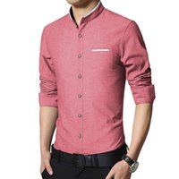 Wholesale Mens Casual Shirt Korea - The fashion leisure men's shirt sleeve slim Collar Dress Shirt Mens m-5xl Mens Korea business