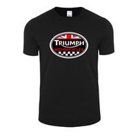 i̇ngiliz tarzı toptan satış-Toptan Satış - Moda Stil Yaz BÜYÜK BRITAIN TRIUMPH MOTOSİKLET Kısa Kollu T-shirt Erkekler Pamuk Casual O Boyun T Gömlek Artı Boyutu