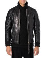 Wholesale Genuine Patch Leather - BRAND Autumn Winter Spring new Fashion leather jacket Short Python skin Men Classic leather jacket men motorcy Thin leather jacket