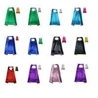 Wholesale Clothing For Stage Performance - 11 color Solid color double layer cape children Cosplay capes Halloween Party Costumes for Kids clothes