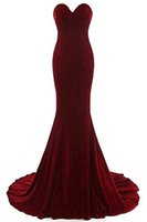 Wholesale Carpet Free Shipping - 2018 Free Shipping Sweetheart Neck Mermaid Evening Dresses Velvet Burgundy Formal Evening Gowns Vestido De Noche Prom Dresses