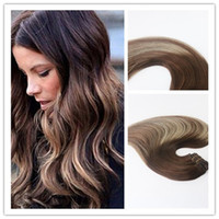 Wholesale Top Piece Clip Extensions - Balayage Color #3 #24 #3 Top Grade High Quality Virgin Remy Hair Straight Human Hair Clip in Hair Extension 100G Per Bundle