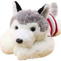 Wholesale Toy Huskies Plush - 1pcs size 40 cm Cartoon gray sweater husky dog plush toy child cloth doll Large pillow cushion child Christmas birthday gift