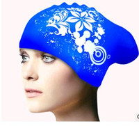 Wholesale Silicone Swim Caps Wholesale - Long hair swimming cap plus-size waterproof and comfortable women-only earmuffs fashion design and color silicone swimming cap wholesale