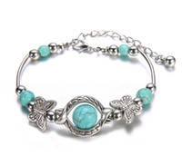 Wholesale Silver Inlaid Bracelet - Wholesale-New Tibetan Silver Color Turquoise Bracelets & Bangles Inlay Butterfly Bead Nation Bohemian Bracelets For Women Fine Jewelry