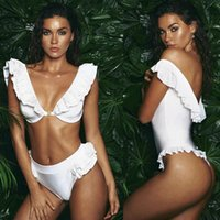 Wholesale Deep Cut One Piece Swimsuit - 2017 White Lotus Leaf Bikini Sets Flash Low Cut Deep V Neck Sexy Swimwear Flounce Backless One-piece Swimsuit Women Bathing Suit