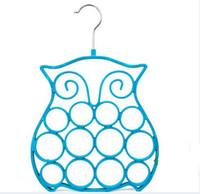 Wholesale Wholesale Velvet Scarf Hanger - ABS Owl Velvet Hanger for Scarf Ties Belts Jewelry Accessories Hats Colorful Flocking Hangers Home Office Shop Storage Racks