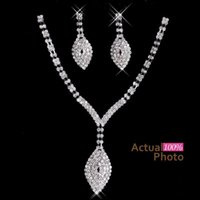 Wholesale Evening Crystal Necklace - 2017 New Rhinestone Crystals Jewelry Set Cheap Fashion Wedding Evening Prom Formal Accessories Hot Sale Free Shipping Necklace