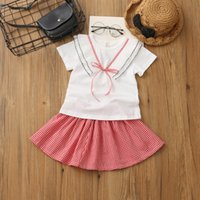 Wholesale Short Pleated Plaid Skirt - Everweekend Girls Pleated Bow Tees with Ruffles Plaid Skirts 2pcs Sets Cute Baby Preppy Style Summer Outfits