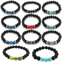 Wholesale Wholesale Energy Bracelets Stone - 7 Chakra Lava Stone Mala Essential Oil Diffuser Protection Energy Healing Stretch Bracelet Men Women Christmas Gift 16 Styles B348S