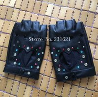 Wholesale Wholesale Personalized Gloves - Wholesale- Women's fashion Personalized diy rhinestone diamond hip-hop gloves star hot-selling PU leather gloves sexy fingerless glove