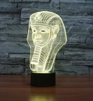 Vente en gros - Egypte Pharaoh Shape 3D Illusion LED Night Light 7 Lampes de Table Couleurs Légères pour Party Gift Children Bedroom Lamp Baby Toy